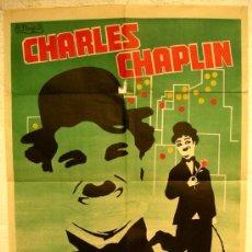 Cine: CARTEL CINE LUCES DE LA CIUDAD, CHARLES CHAPLIN , 1973 , OFFSET. Lote 64285597