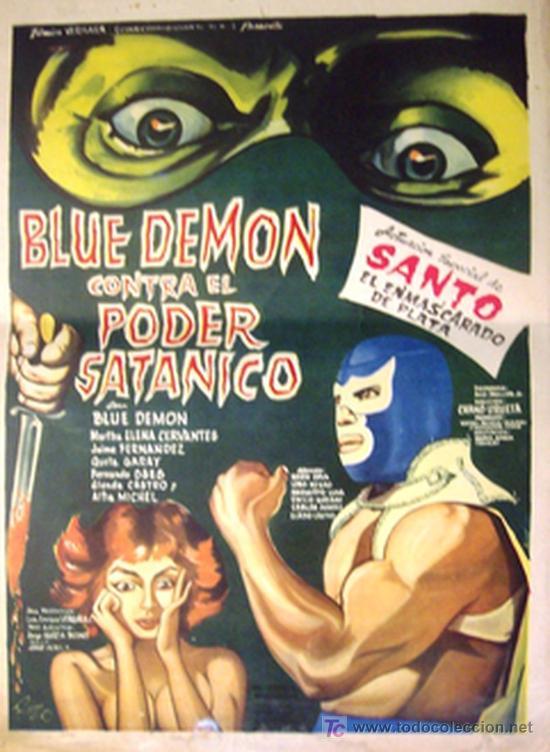 Cine: SANTO EL ENMASCARADO DE PLATA - BLUE DEMON CONTRA EL PODER SATANICO - ORIGINAL LOBBY CARD MEXICANO - Foto 1 - 13738534
