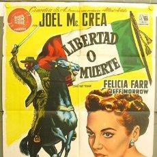 Cine: T06874 LIBERTAD O MUERTE JOEL MCCREA FELICIA FARR EL ALAMO POSTER ORIGINAL 70X100 ESTRENO LITOGRAFIA. Lote 7215656