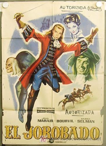 T07084 EL JOROBADO JEAN MARAIS BOURVIL POSTER ORIGINAL 70X100 ESTRENO (Cine - Posters y Carteles - Aventura)
