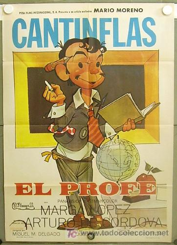 T07080 EL PROFE CANTINFLAS POSTER ORIGINAL 70X100 ESTRENO (Cine - Posters y Carteles - Comedia)