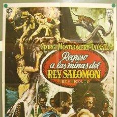 Cine: T07319 REGRESO A LAS MINAS DEL REY SALOMON GEORGE MONTGOMERY TAINA ELG POSTER ORIGINAL 70X100. Lote 7698609