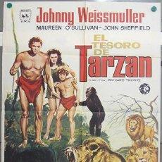 Cine: CP01 EL TESORO DE TARZAN JOHNNY WEISSMULLER ALVARO POSTER ORIGINAL 70X100 ESPAÑOL R-74. Lote 7699130