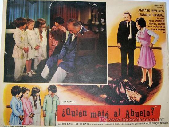 AMPARO RIVELLES - QUIEN MATO AL ABUELO - ENRIQUE RAMBAL VICTOR JUNCO ORIGINAL LOBBY CARD MEXICANO (Cine - Posters y Carteles - Clasico Español)