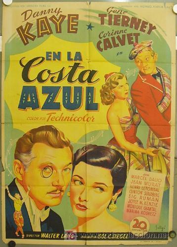 ZM11D EN LA COSTA AZUL DANNY KAYE GENE TIERNEY SOLIGO POSTER ORIGINAL 70X100 ESTRENO LITOGRAFIA (Cine - Posters y Carteles - Comedia)