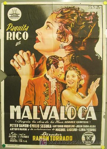 T07605 MALVALOCA PAQUITA RICO CIFESA PERIS ARAGO POSTER ORIGINAL ESTRENO 70X100 LITOGRAFIA (Cine - Posters y Carteles - Clasico Español)