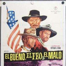 Cine: E2071D EL BUENO EL FEO Y EL MALO SERGIO LEONE CLINT EASTWOOD POSTER ORIG 70X100 ESTRENO ENTELADO A. Lote 8870391