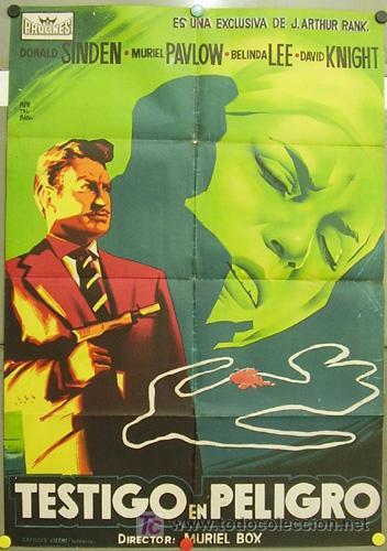 T07865 TESTIGO EN PELIGRO DONALD SINDEN BELINDA LEE MONTALBAN POSTER ORIG 70X100 ESTRENO LITOGRAFIA (Cine - Posters y Carteles - Suspense)
