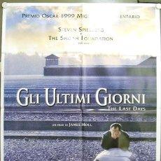 Cine: CU72 LOS ULTIMOS DIAS THE LAST DAYS STEVEN SPIELBERG HOLOCAUSTO POSTER ORIGINAL ITALIANO 100X140. Lote 8128980
