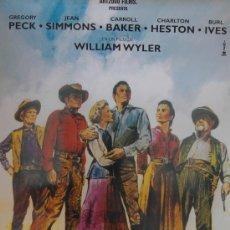 Cine: HORIZONTES DE GRANDEZA - POSTER 70X100 CM. GREGORY PECK CHARLTON HESTON CARROLL BAKER SIN DOBLAR. Lote 189357395
