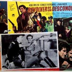 Cine: WESTERN - REVOLVER DE UN DESCONOCIDO - ROD TAYLOR - ERNESTE BORGNINE - ORIGINAL LOBBY CARD MEXICANO. Lote 14129772