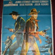 Cine: HORIZONTES LEJANOS (CARTEL ORIGINAL 1966) JAMES STEWART- ROCK HUDSON DIRECTOR ANTHONY MANN. Lote 27043474
