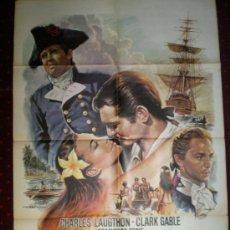 Cine: LA TRAGEDIA DE LA BOUNTY (CARTEL ORIGINAL) CLARK GABLE - CHARLES LAUGTHON. Lote 19338912
