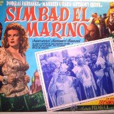 Cine: SIMBAD EL MARINO - ANTHONY QUINN - DOUGLAS FAIRBANKS - MAUREEN O'HARA - ORIGINAL LOBBY CARD MEXICANO. Lote 14154685