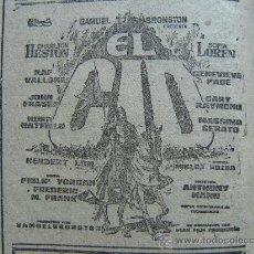 Cine: ESTRENO DEL ALAMO CON JOHN WAYNE Y EL ROSTRO IMPENETRABLA CON MARLON BRANDO - ANUNCIO DE EL CID. Lote 19013696