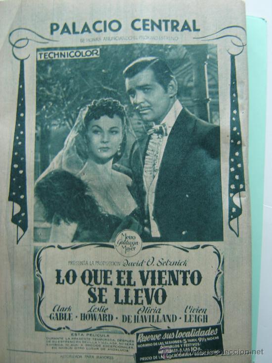 ANUNCIO ORIGINAL DEL ESTRENO DE LO QUE EL VIENTO SE LLEVÓ EN EL PALACIO REAL DE MADRID (Cine - Posters y Carteles - Suspense)