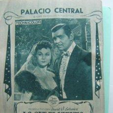 Cine: ANUNCIO ORIGINAL DEL ESTRENO DE LO QUE EL VIENTO SE LLEVÓ EN EL PALACIO REAL DE MADRID . Lote 18715244
