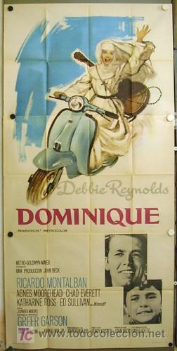 DP00 DOMINIQUE DEBBIE REYNOLDS VESPA O LAMBRETTA POSTER ORIGINAL 3 HOJAS 100X205 ESTRENO (Cine - Posters y Carteles - Comedia)