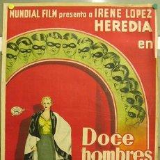 Cine: E023 DOCE HOMBRES Y UNA MUJER IRENE LOPEZ HEREDIA POSTER ORIGINAL 70X100 ESTRENO LITOGRAFIA 1934. Lote 12301197