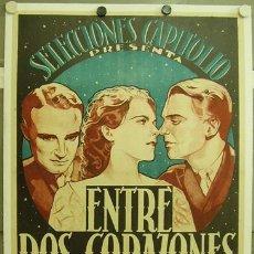 Cine: E2069D ENTRE DOS CORAZONES DOUGLAS FAIRBANKS JR. POSTER ORIGINAL ESTRENO 70X100 ENTELADO LITOGRAFIA. Lote 18291787