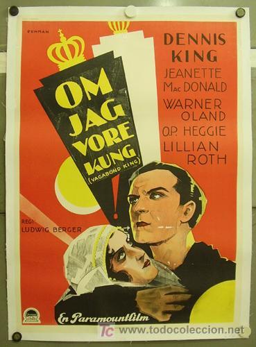 E2009D EL REY VAGABUNDO JEANETTE MACDONALD DENNIS KING POSTER ORIG SUECO 70X100 ENTELADO LITOGRAFIA (Cine - Posters y Carteles - Musicales)
