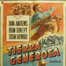 Cine: YY36D TIERRA GENEROSA SUSAN HAYWARD DANA ANDREWS POSTER ORIGINAL ARGENTINO 75X110 LITOGRAFIA. Lote 8898898