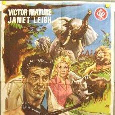 Cine: DQ71 SAFARI VICTOR MATURE JANET LEIGH POSTER ORIGINAL 70X100 DEL ESTRENO. Lote 8901297