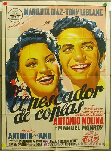 DQ49 EL PESCADOR DE COPLAS ANTONIO MOLINA MARUJITA DIAZ LEBLANC POSTER ORIGINAL 70X100 LITOGRAFIA (Cine - Posters y Carteles - Clasico Español)