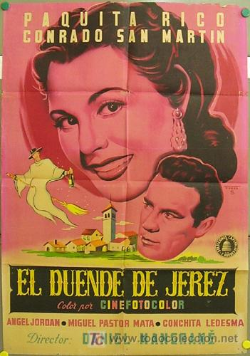 DS31 EL DUENDE DE JEREZ PAQUITA RICO POSTER ORIGINAL 70X100 ESTRENO LITOGRAFIA (Cine - Posters y Carteles - Clasico Español)