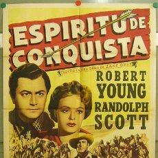 Cine: XH59D ESPIRITU DE CONQUISTA RANDOLPH SCOTT FRITZ LANG POSTER ORIGINAL 70X100 ESTRENO LITOGRAFIA. Lote 18347525