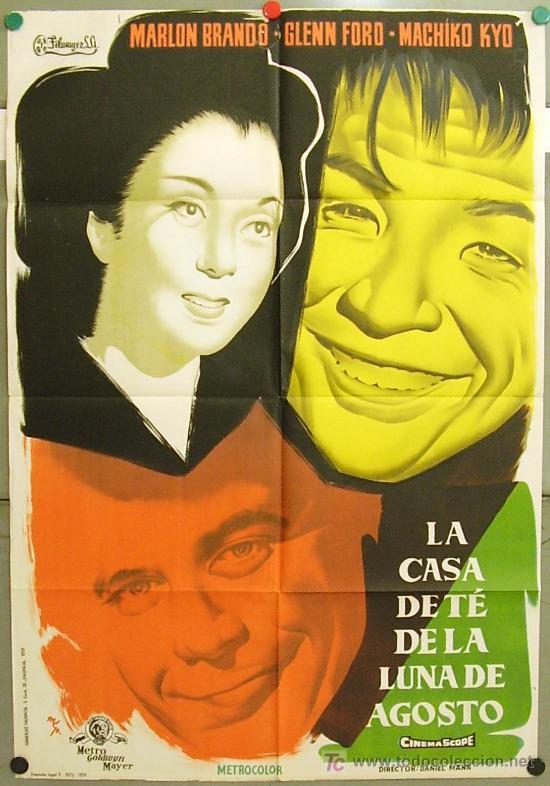DT56 LA CASA DEL TE DE LA LUNA DE AGOSTO MARLON BRANDO MCP POSTER ORIGINAL 70X100 ESTRENO LITOGRAFIA (Cine - Posters y Carteles - Aventura)