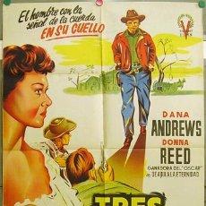 Cine: ZQ61D TRES HORAS PARA VIVIR DANA ANDREWS DONNA REED POSTER ORIGINAL 70X100 ESTRENO LITOGRAFIA. Lote 9012636
