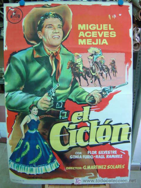 EL CICLON - LITOGRAFIA - MIGUEL ACEVES MEJIA - AÑO 1959 (Cine - Posters y Carteles - Westerns)