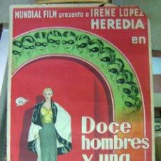 Cine: DOCE HOMBRES Y UNA MUJER - FERNANDO DELGADO, IRENE LOPEZ HEREDIA - LITOGRAFIA. Lote 27207173