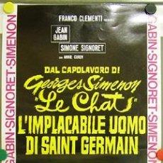 Cine: DX72 EL GATO JEAN GABIN SIMONE SIGNORET GEORGES SIMENON POSTER ORIGINAL 33X70 ITALIANO. Lote 9140938