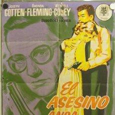 Cine: EC23 EL ASESINO ANDA SUELTO JOSEPH COTTEN RHONDA FLEMING POSTER ORIGINAL 70X100 ESTRENO LITOGRAFIA. Lote 11431396