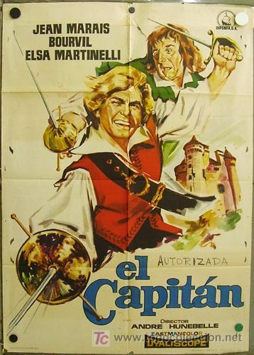 EC58 EL CAPITAN JEAN MARAIS BOURVIL ELSA MARTINELLI POSTER ORIGINAL ESTRENO 70X100 (Cine - Posters y Carteles - Aventura)