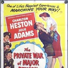 Cine: YV57DLA GUERRA PRIVADA DEL MAYOR BENSON CHARLTON HESTON JULIE ADAMS POSTER ORIGINAL AMERICANO 70X105. Lote 9301616