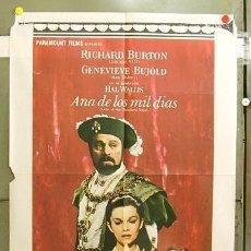 Cine: FC12 ANA DE LOS MIL DIAS GENEVIEVE BUJOLD RICHARD BURTON POSTER ORIGINAL 70X100 ESTRENO. Lote 9469883