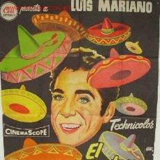 Cine: CARTEL CINE , EL CANTOR DE MEXICO, LUIS MARIANO, LITO. Lote 19525627