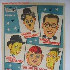 Cine: ESTRELLAS DE AYER.- CHARLOT, JAIMITO, HAROLD, UN PAR DE SOCIOS - AÑO 1964 - LITOGRAFIA. Lote 136175718