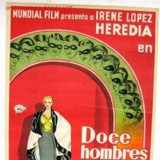 Cine: CARTEL CINE DOCE HOMBRES Y UNA MUJER , AÑOS 30 , DECO , LITOGRAFIA .. Lote 25606706