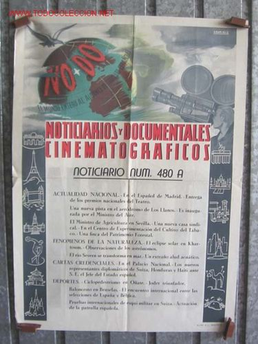 CARTEL NODO NOTICIARIOS Y DOCUMENTALES CINEMATOGRAFICOS (Cine - Posters y Carteles - Documentales)