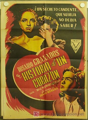 ZS13D HISTORIA DE UN CORAZON ROSARIO GRANADOS JOSEP RENAU POSTER ORIGINAL ESTRENO 70X100 LITOGRAFIA (Cine - Posters y Carteles - Clasico Español)