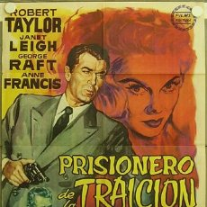 Cine: FC39 PRISIONERO DE LA TRAICION ROBERT TAYLOR JANET LEIGH POSTER ORIGINAL ESTRENO 70X100. Lote 9943189