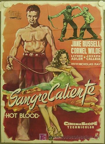 FC42 SANGRE CALIENTE JANE RUSSELL CORNEL WILDE NICHOLAS RAY RUMBO POSTER ORIGINAL ESTRENO 70X100 (Cine- Posters y Carteles - Drama)