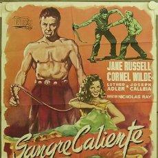 Cine: FC42 SANGRE CALIENTE JANE RUSSELL CORNEL WILDE NICHOLAS RAY RUMBO POSTER ORIGINAL ESTRENO 70X100. Lote 18944071