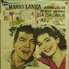 Cine: FD76 POR PRIMERA VEZ MARIO LANZA ZSA ZSA GABOR POSTER ORIGINAL 70X100 ESTRENO. Lote 9978337
