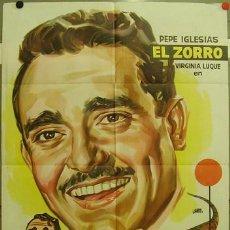 Cine: FE05 EL ZORRO EN PELIGRO PEPE IGLESIAS EL ZORRO POSTER ORIGINAL 70X100 ESTRENO LITOGRAFIA. Lote 9982471