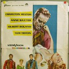 Cine: FH78 LA LEY DE LOS FUERTES CHARLTON HESTON ANNE BAXTER JANO POSTER ORIGINAL 70X100 ESTRENO. Lote 10050047